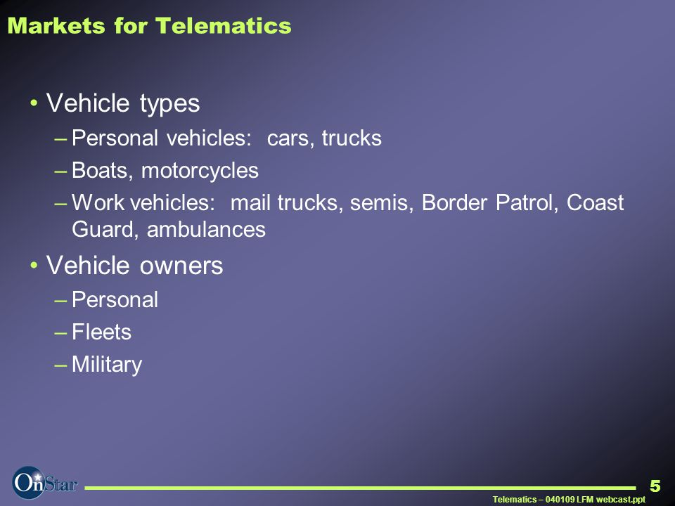 Markets for Telematics