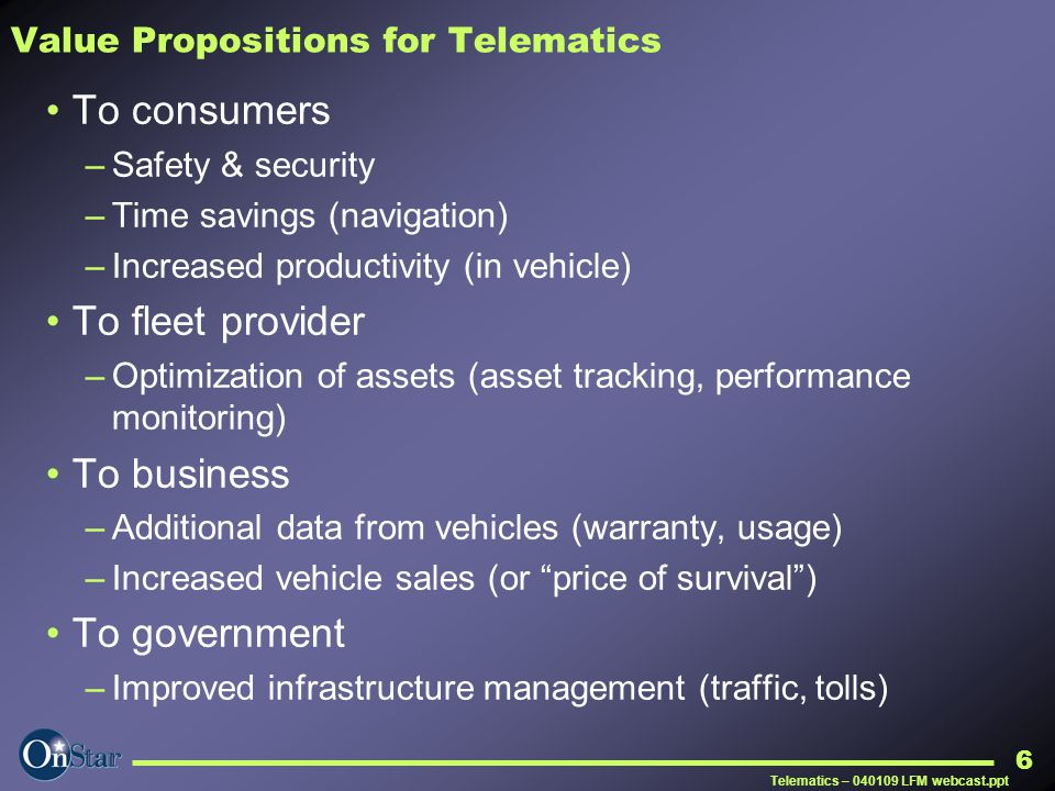 Value Propositions for Telematics