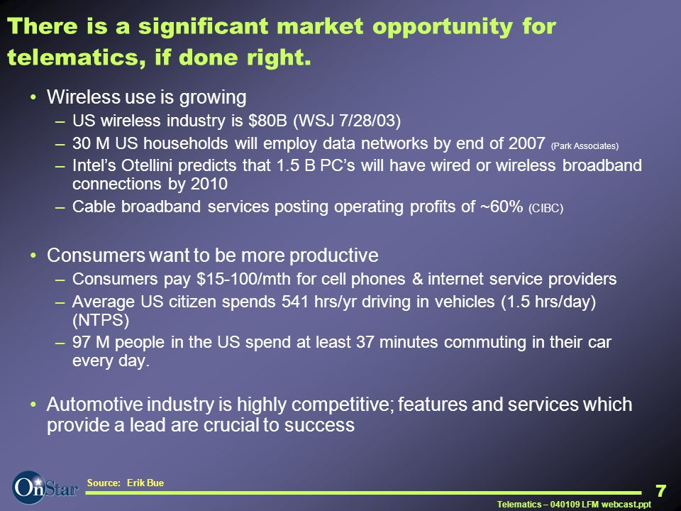 There is a significant market opportunity for telematics, if done right.