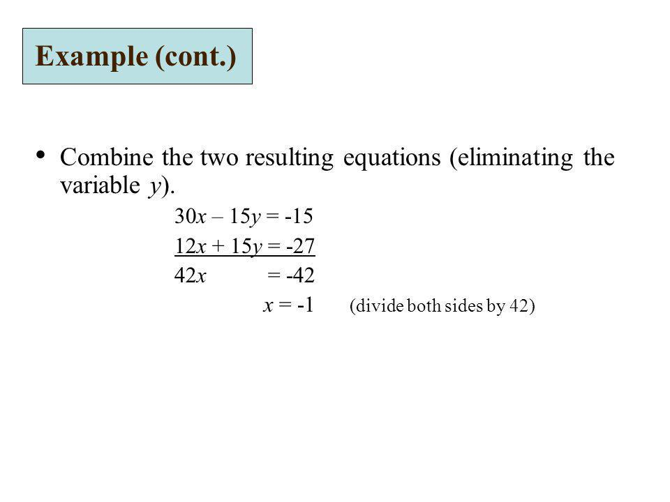 Example (cont.) Combine the two resulting equations (eliminating the variable y). 30x – 15y = -15.
