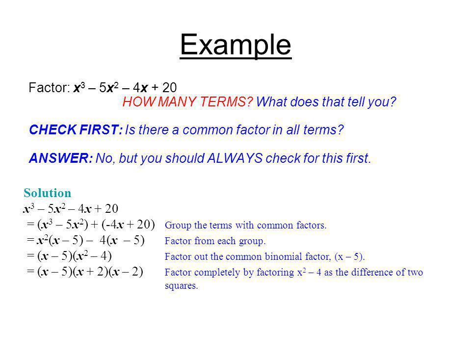 Example Factor: x3 – 5x2 – 4x + 20
