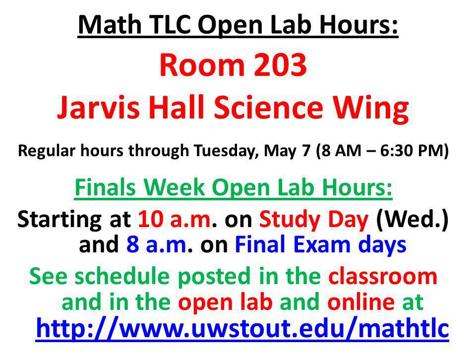 Math TLC Open Lab Hours: