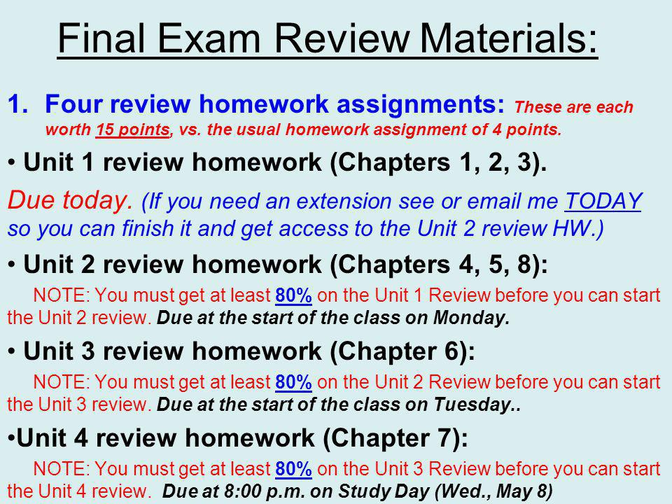 Final Exam Review Materials: