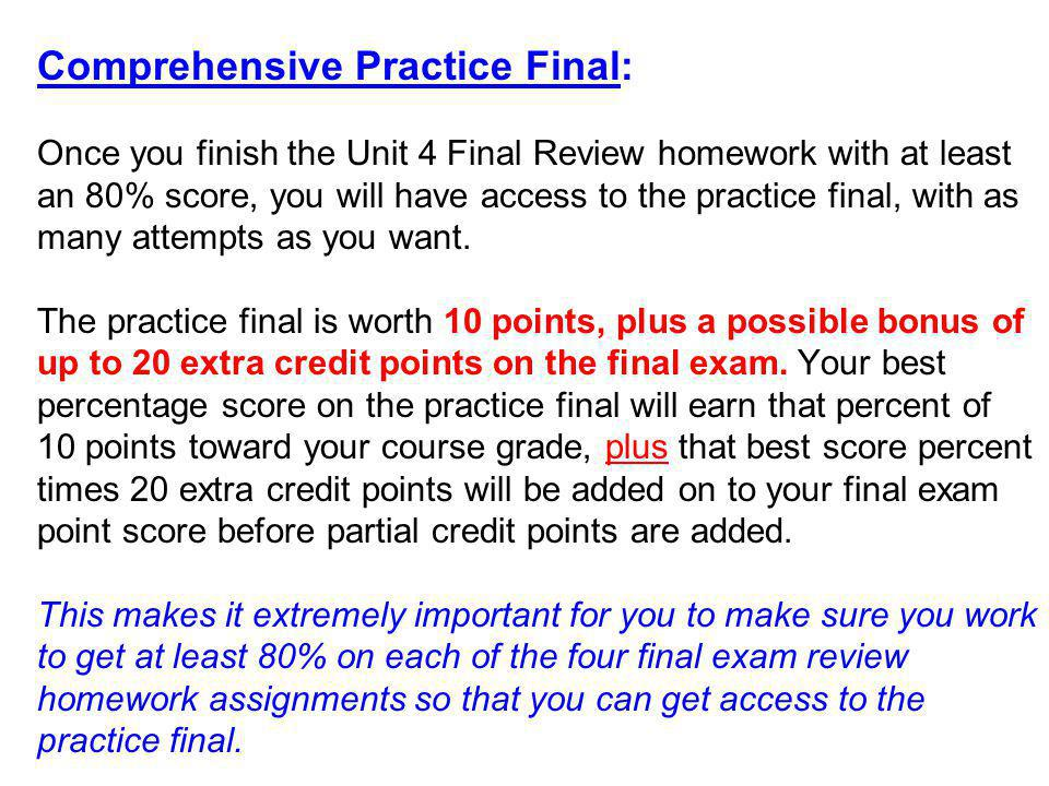 Comprehensive Practice Final: