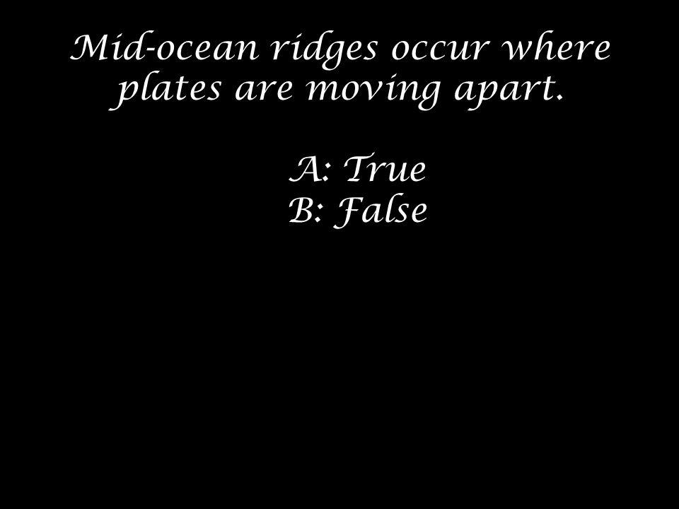 Mid-ocean ridges occur where plates are moving apart.