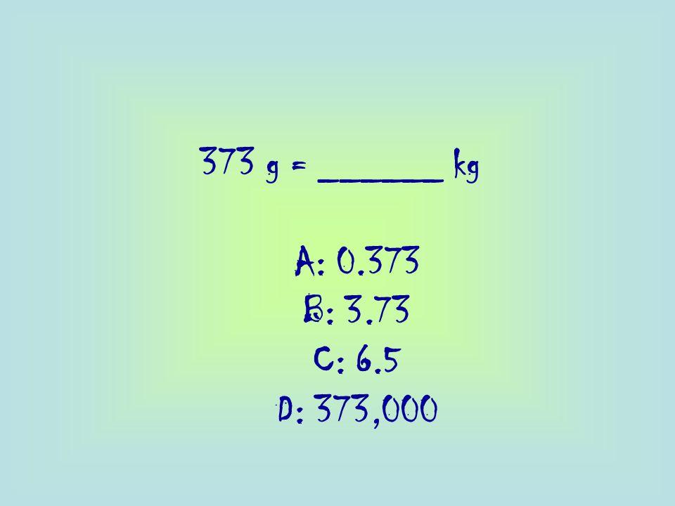 373 g = ______ kg A: 0.373 B: 3.73 C: 6.5 D: 373,000