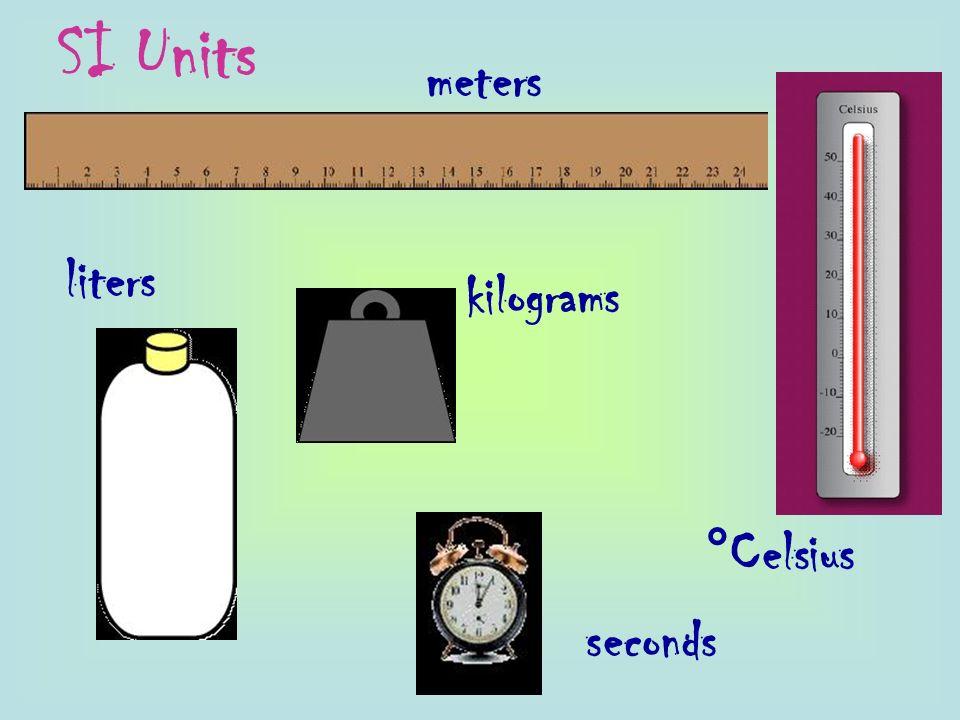 SI Units meters liters kilograms °Celsius seconds