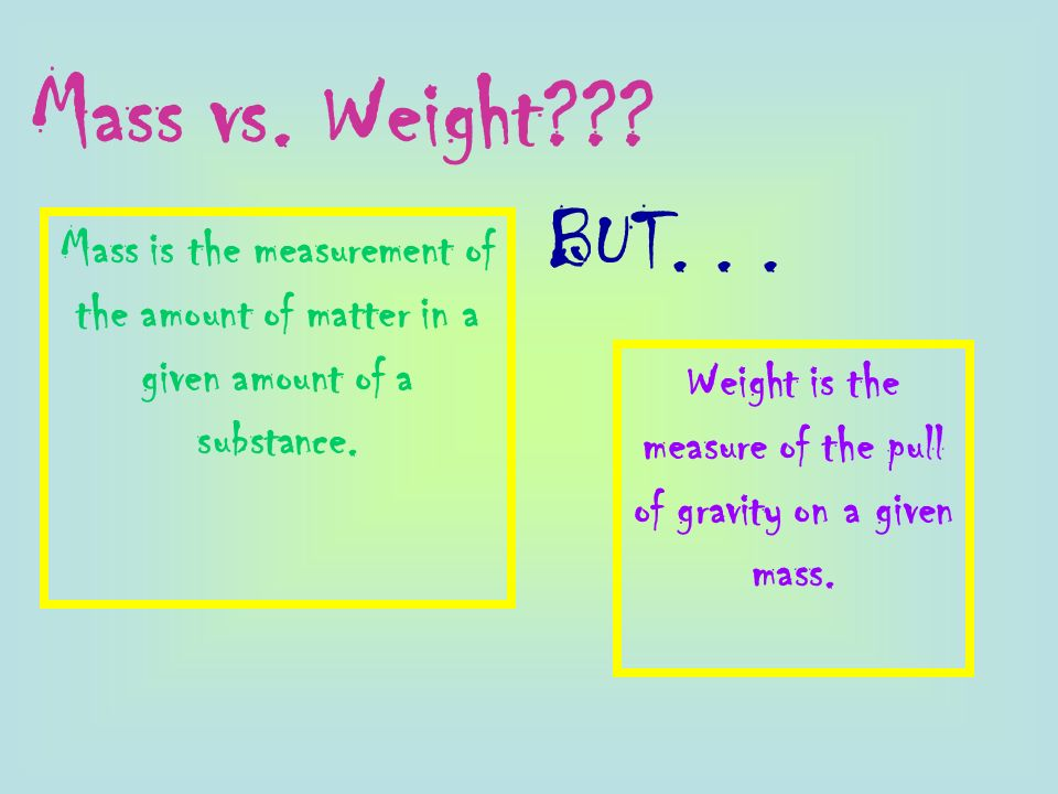Weight is the measure of the pull of gravity on a given mass.