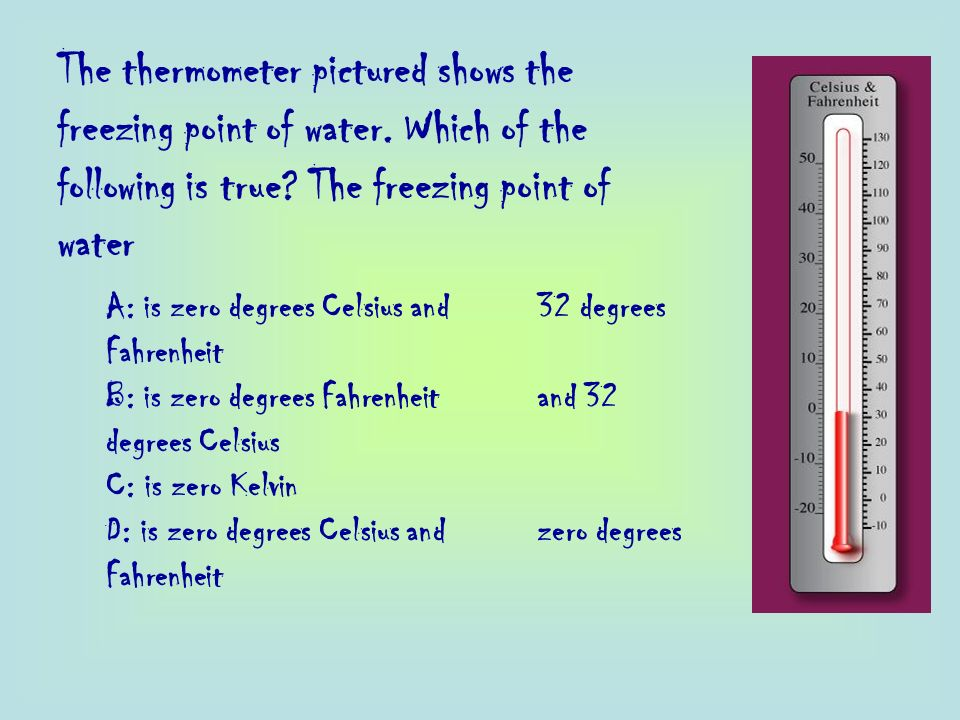 The thermometer pictured shows the freezing point of water