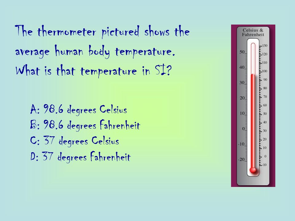 The thermometer pictured shows the average human body temperature.