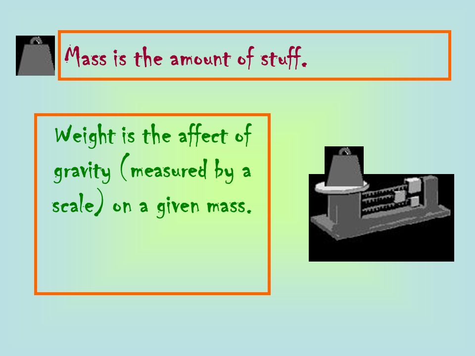 Weight is the affect of gravity (measured by a scale) on a given mass.