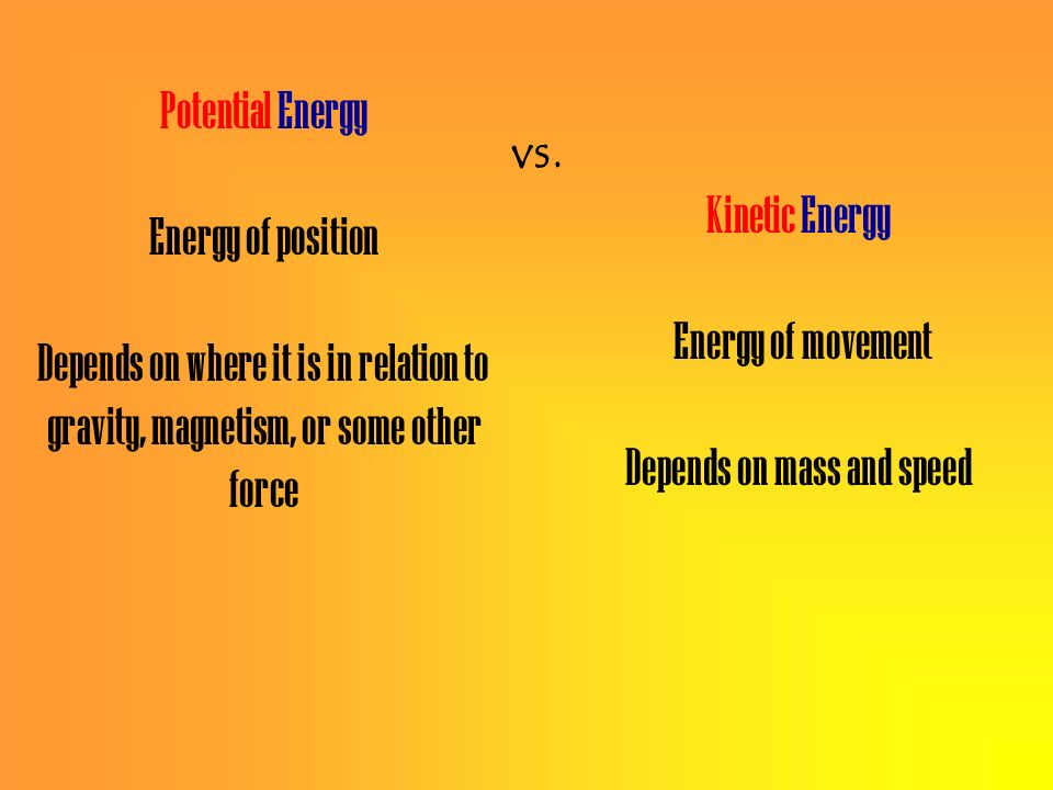 Kinetic Energy Energy of movement Depends on mass and speed