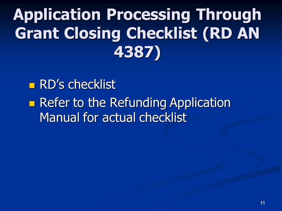 Application Processing Through Grant Closing Checklist (RD AN 4387)