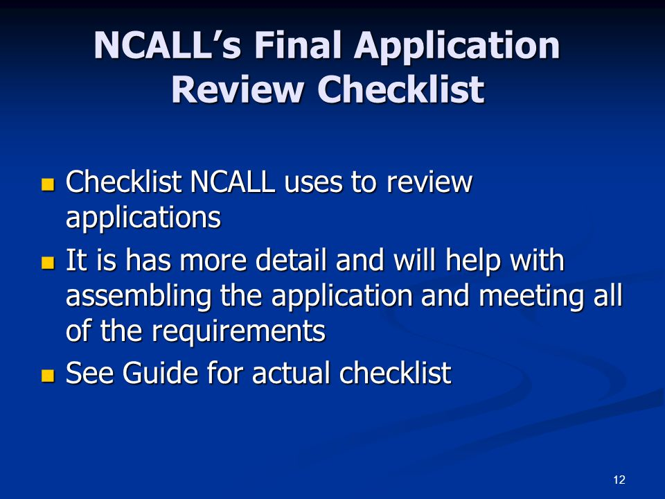 NCALL's Final Application Review Checklist
