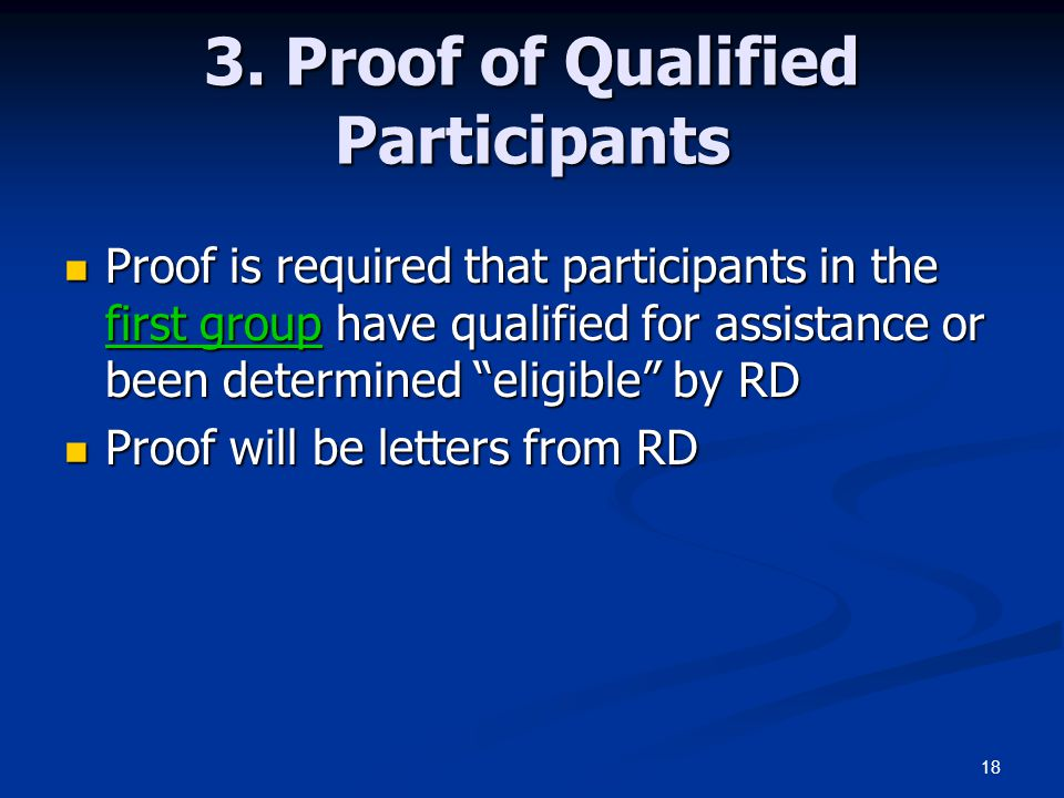 3. Proof of Qualified Participants