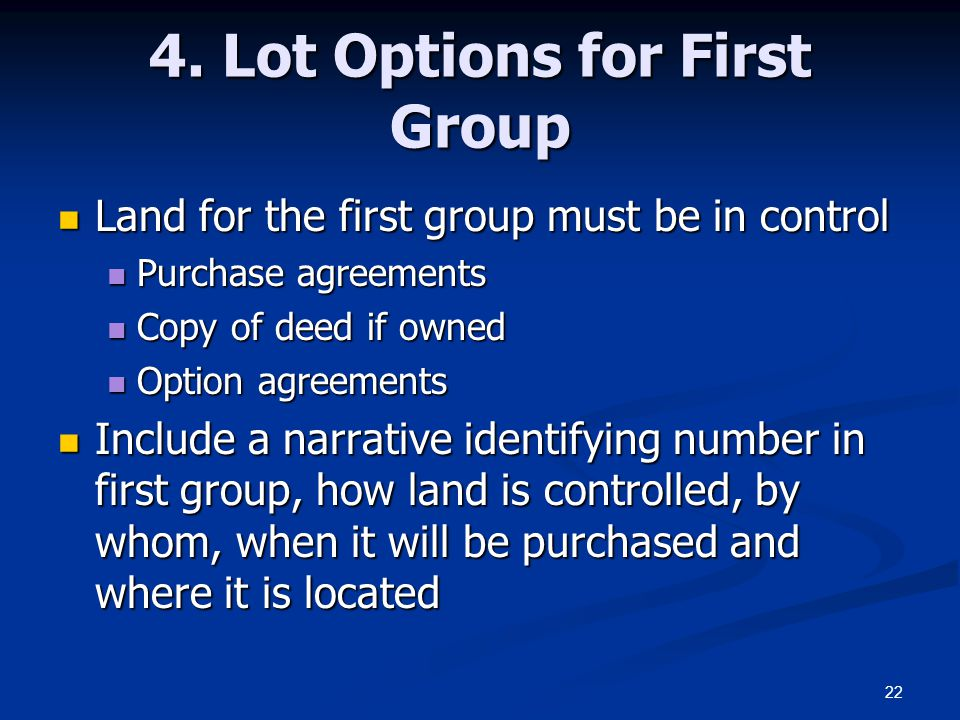 4. Lot Options for First Group