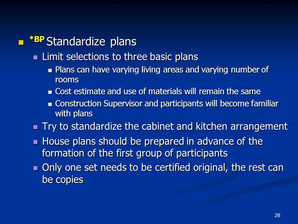 *BP Standardize plans Limit selections to three basic plans