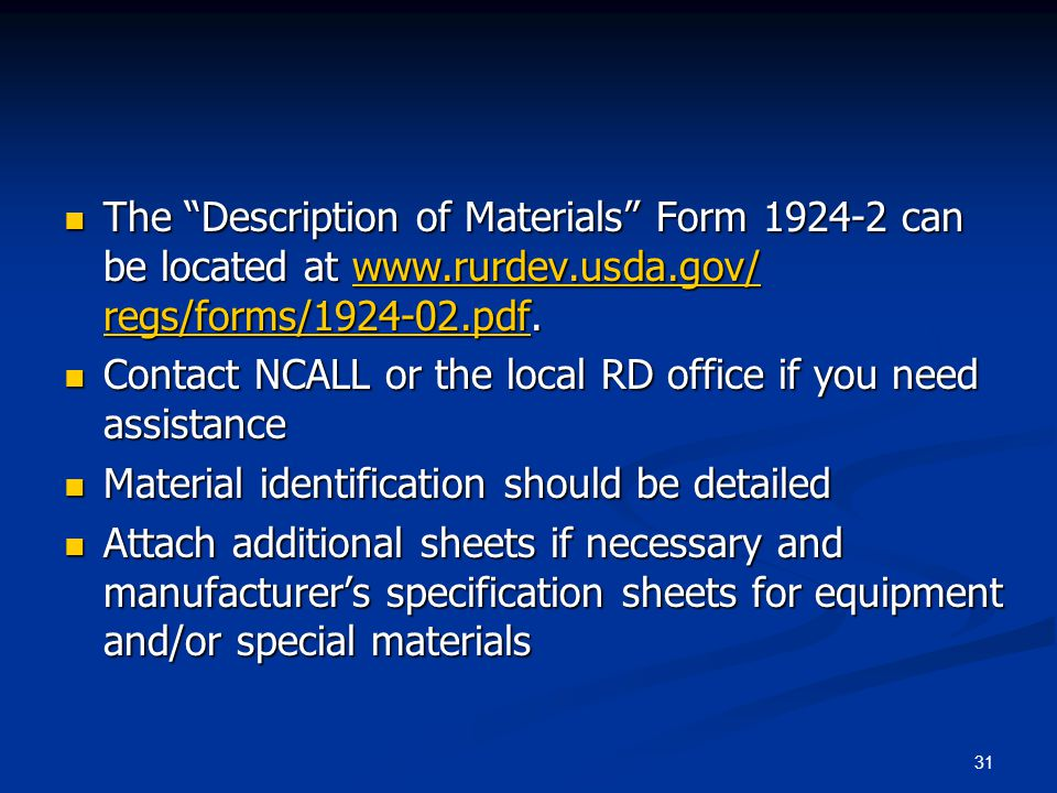 The Description of Materials Form 1924-2 can be located at www
