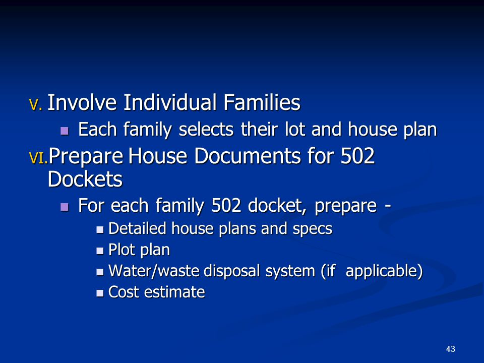 Involve Individual Families Prepare House Documents for 502 Dockets