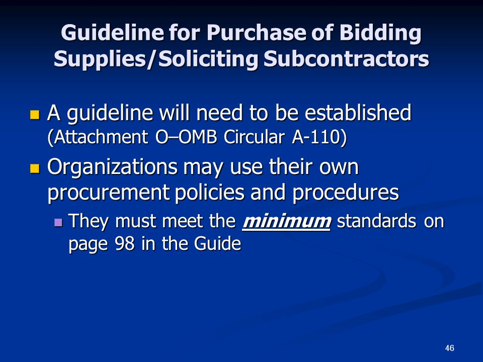 Guideline for Purchase of Bidding Supplies/Soliciting Subcontractors