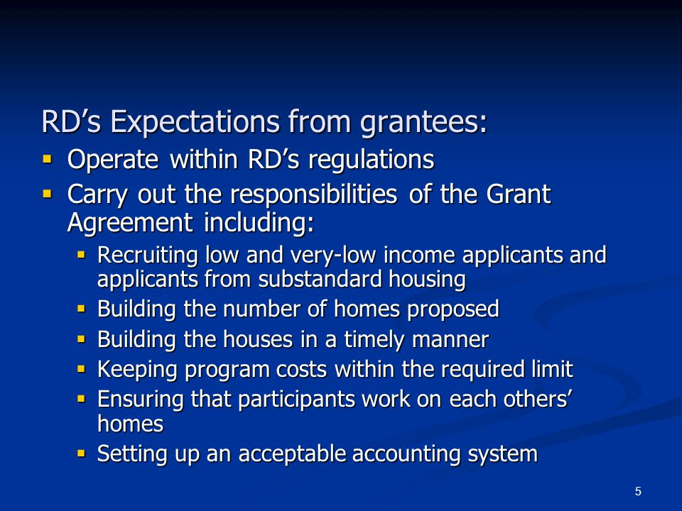 RD's Expectations from grantees: