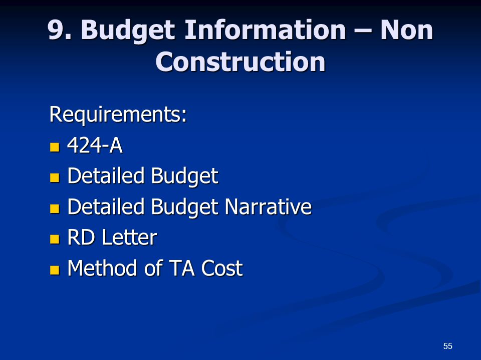 9. Budget Information – Non Construction