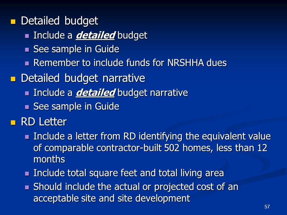 Detailed budget narrative