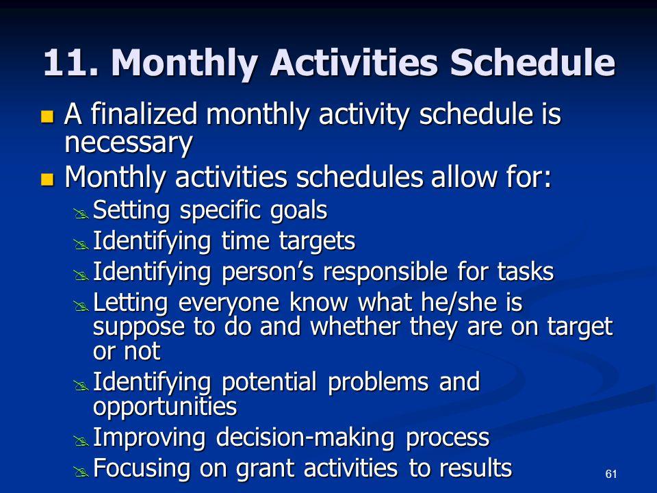11. Monthly Activities Schedule