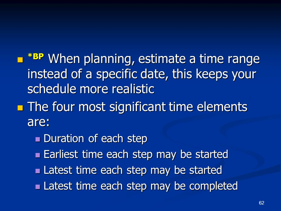 The four most significant time elements are: