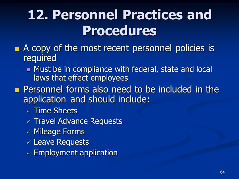 12. Personnel Practices and Procedures