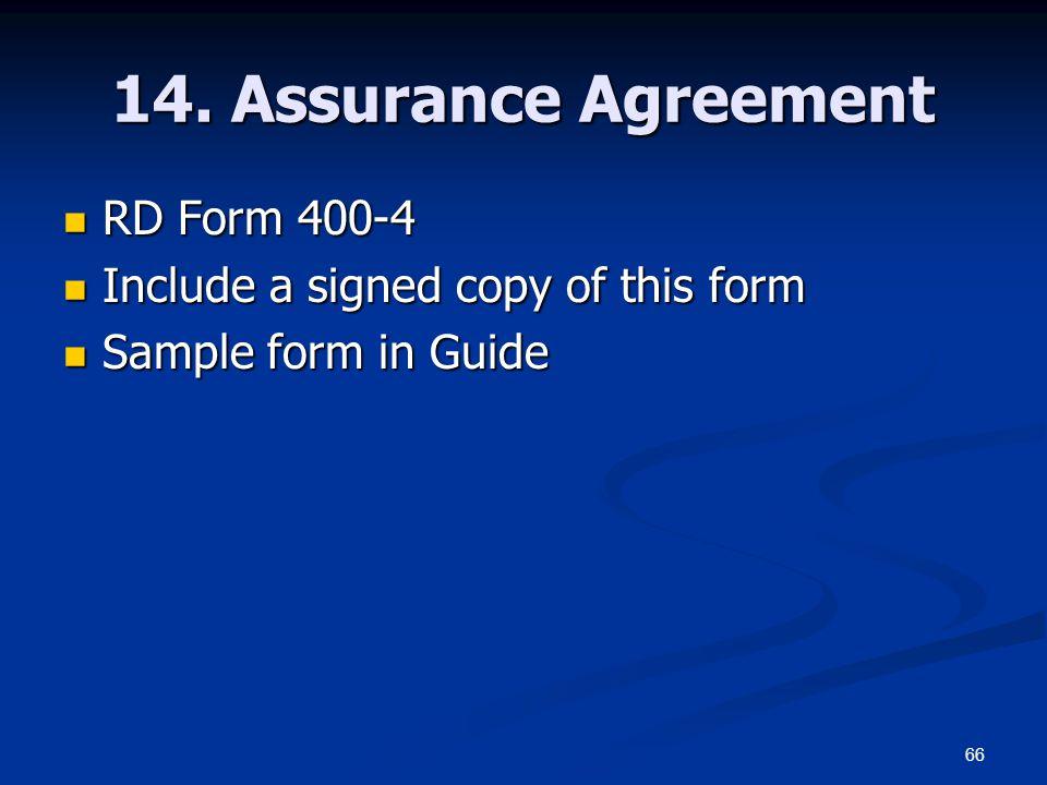 14. Assurance Agreement RD Form 400-4