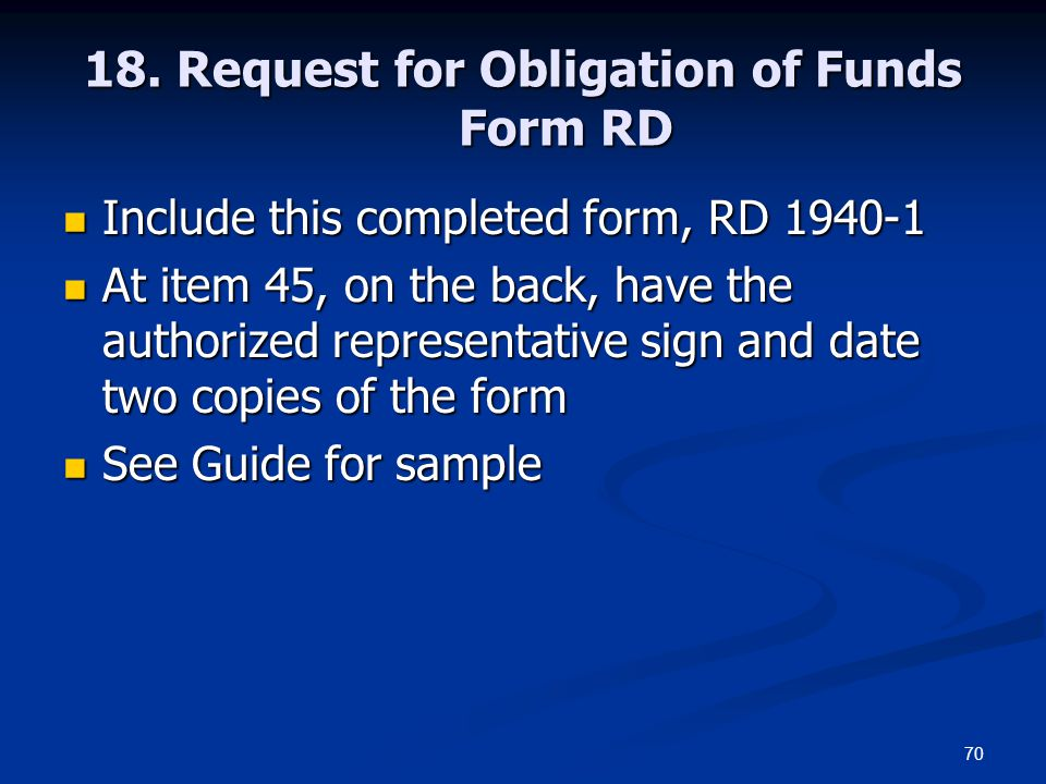18. Request for Obligation of Funds Form RD