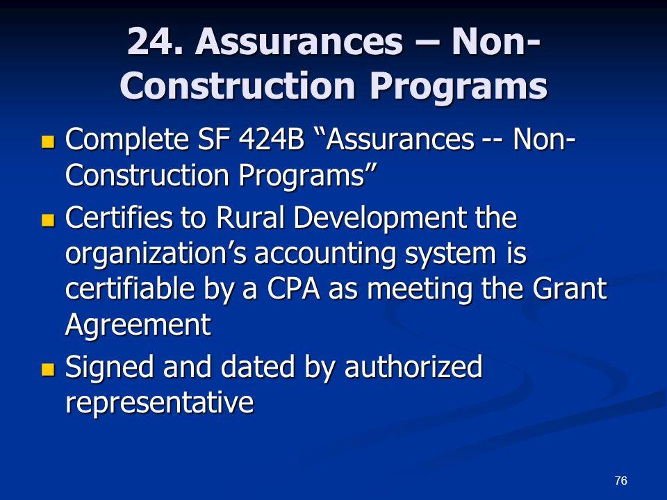 24. Assurances – Non-Construction Programs