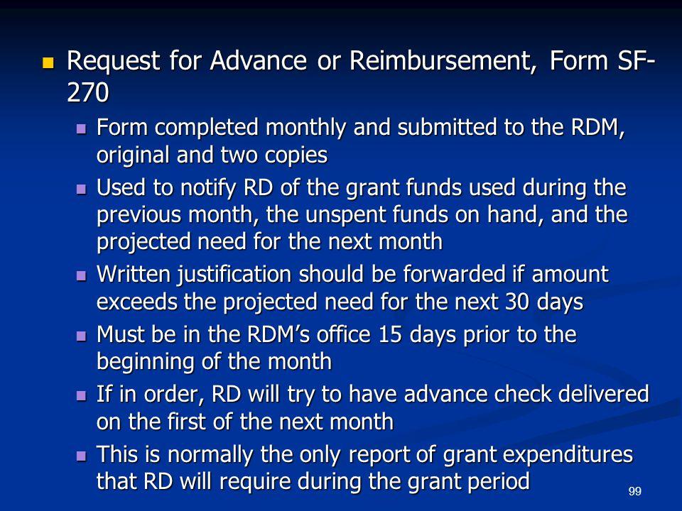 Request for Advance or Reimbursement, Form SF-270