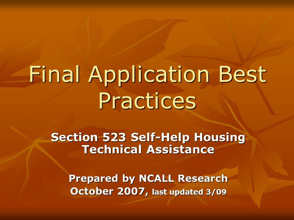 Final Application Best Practices