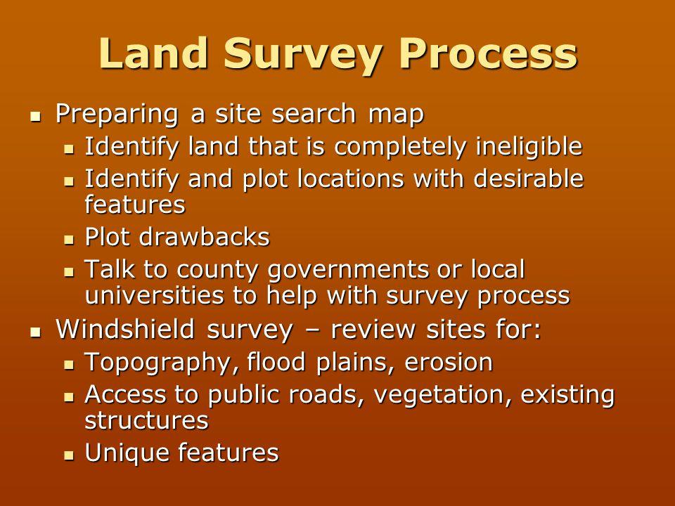 Land Survey Process Preparing a site search map
