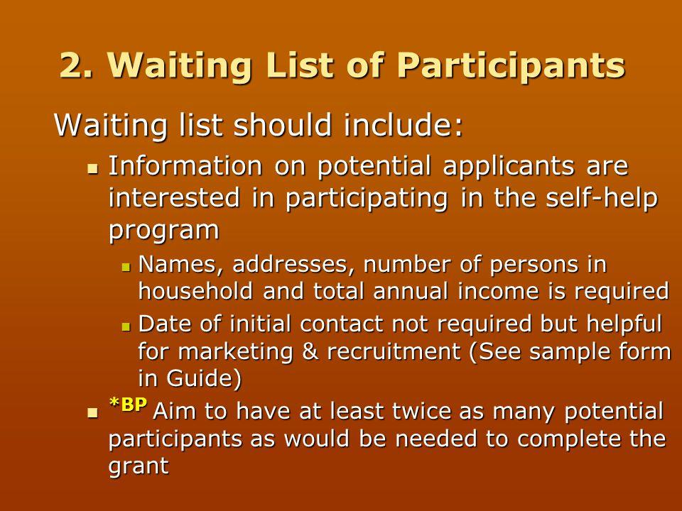 2. Waiting List of Participants