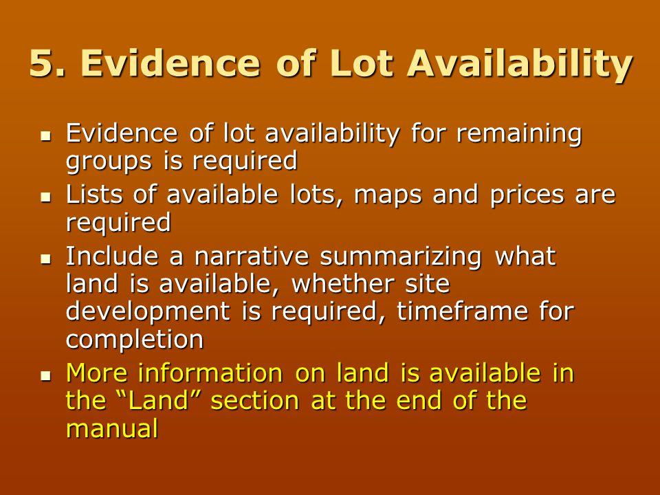 5. Evidence of Lot Availability
