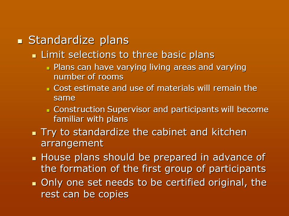 Standardize plans Limit selections to three basic plans