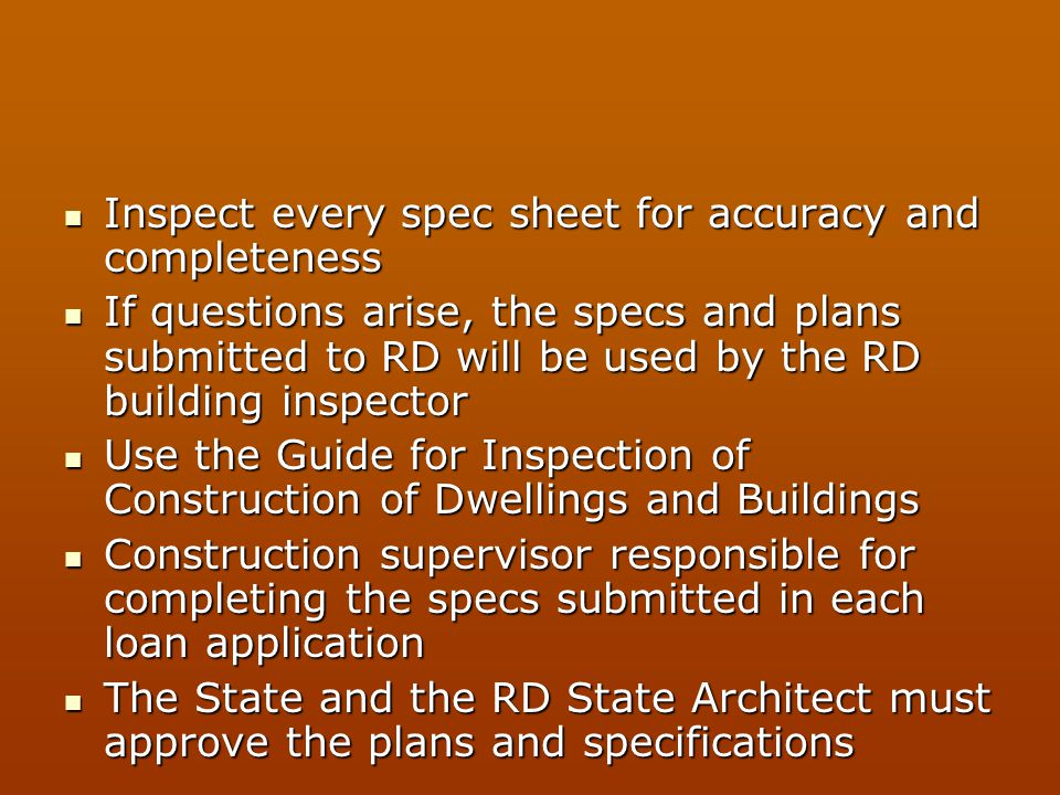 Inspect every spec sheet for accuracy and completeness