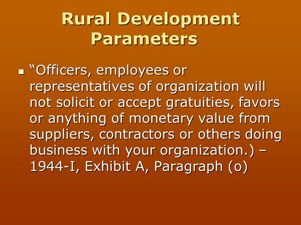 Rural Development Parameters