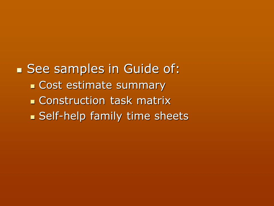 See samples in Guide of: