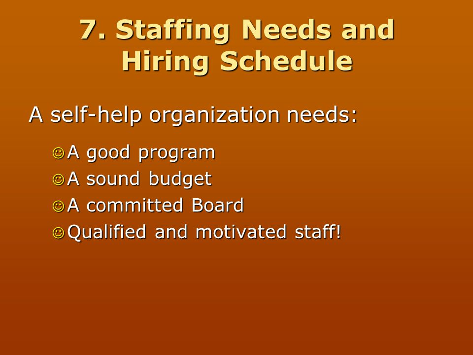 7. Staffing Needs and Hiring Schedule
