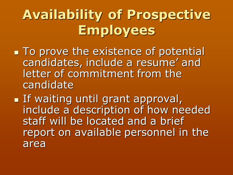 Availability of Prospective Employees