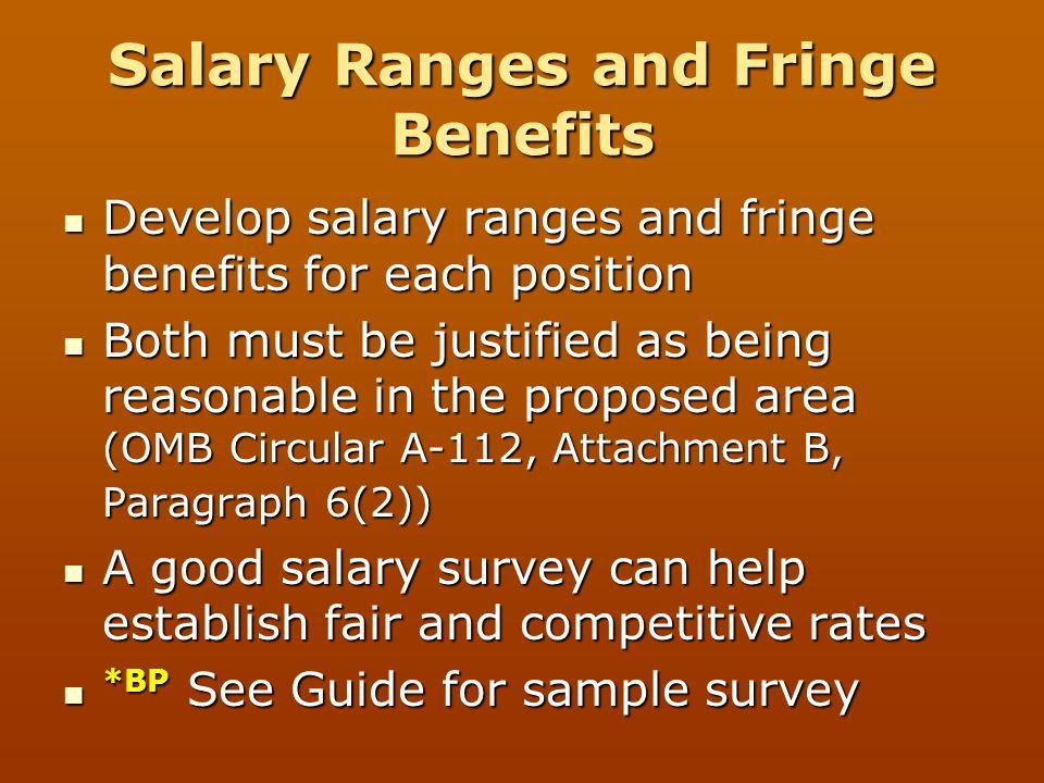 Salary Ranges and Fringe Benefits