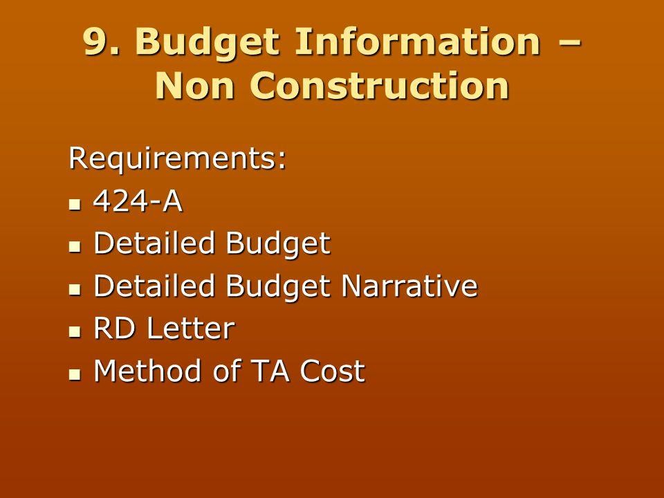 9. Budget Information – Non Construction