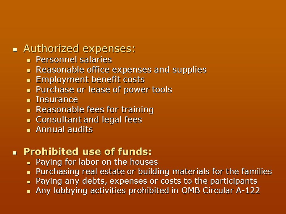 Authorized expenses: Prohibited use of funds: Personnel salaries