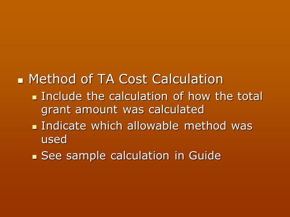 Method of TA Cost Calculation