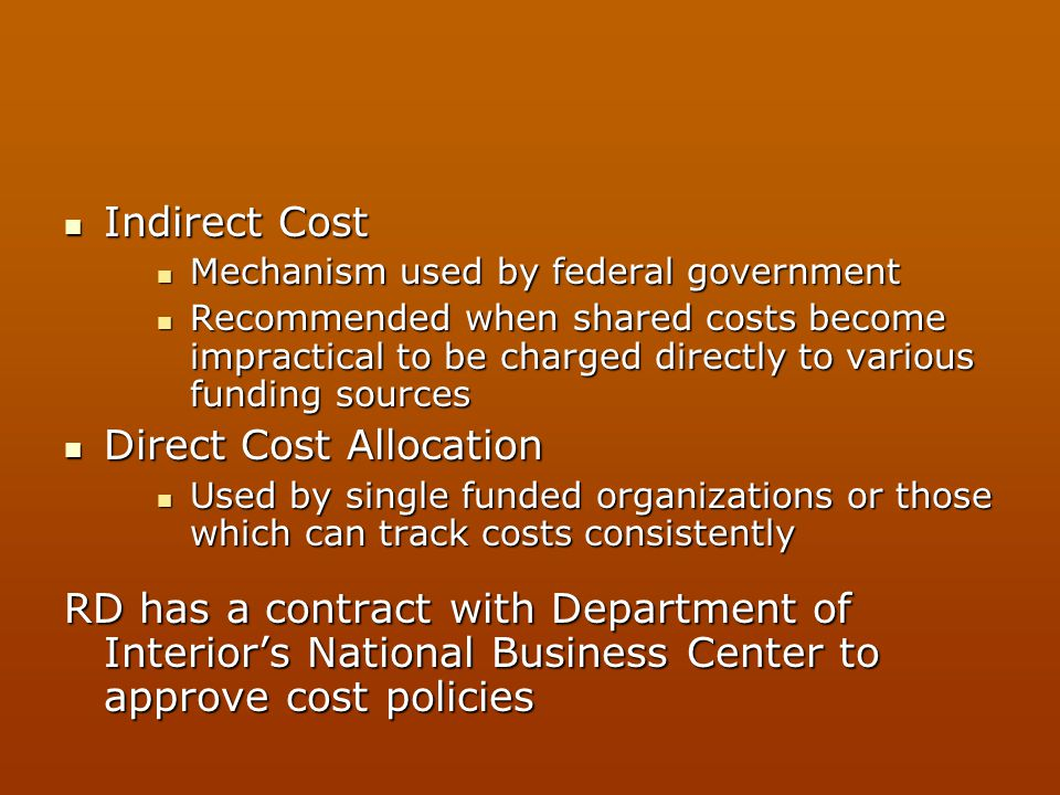 Direct Cost Allocation