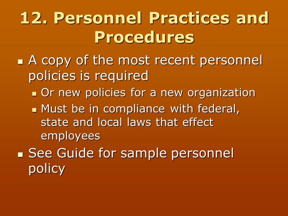 12. Personnel Practices and Procedures